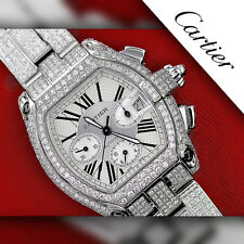 23.00 CTW Diamond Cartier Roadster XL W62020X6 White Dial Stainless Steel Watch