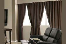 Curtain Panel, Absolute Zero Total Blackout Chocolate Faux Velvet, 50x84