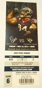 2013 Jacksonville Jaguars Houston Texans NFL Football Ticket Stub