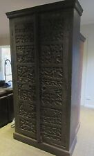 EXOTIC Large Timber Cupboard Cabinet Hand Carved Indian African Tribal