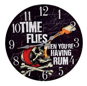 "Pirate ""Time Flies When You're Having Rum"" Wood Wall Clock Ocean 13""X 13"" New"