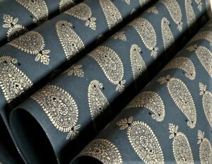 3 Sheets Black Gold Luxury Paisley Handmade Gift Wrap Wrapping Paper 50cm x 70cm