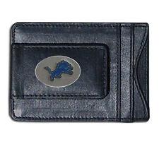 Detroit Lions NFL Football Team Leather Card Holder Money Clip Wallet