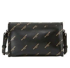 BALENCIAGA Logo Bazar Pochette Strap Clutch Bag in Black