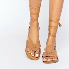 Truffle Collection Asos Gladiator Tie Sandals BNWT UK 4 £28 Tan Brown Holiday