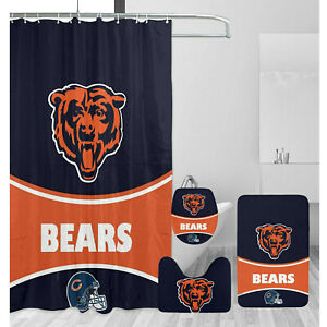 Chicago Bears Bathroom Rugs Set 4PCS Shower Curtain An-Skid Toilet Seat Cover