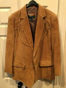CRIPPLE CREEK MENS SUEDE LEATHER JACKET TAN SIZE XL