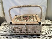 Vintage Pink Floral Sewing Basket Woven Wicker Pin Cushion Full of Notions