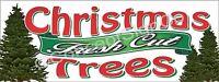 4'x10' FRESH CUT CHRISTMAS TREES BANNER Outdoor Sign XL Holiday Sale Xmas Wreath