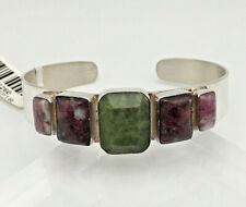 JAY KING Sterling Silver Dark Green Opal and Tourmaline Cuff Bracelet - NWT