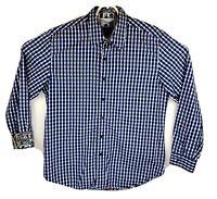 Robert Graham Mens Large Blue Checkered Flip Cuff Long Sleeve Button Up Shirt