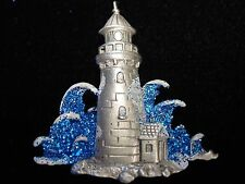 """SALE ~ """"JJ"""" Jonette Jewelry Silver Pewter 'LIGHTHOUSE with Blue Waves' Pin ~SALE"""