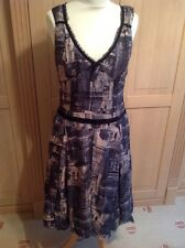 EYE CATCHING WHISTLES BEIGE & BLACK DRESS UK SIZE 10 BARELY WORN GREAT CONDITION