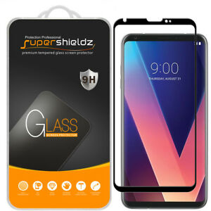 2X Supershieldz for LG V30 Full Cover Tempered Glass Screen Protector (Black)