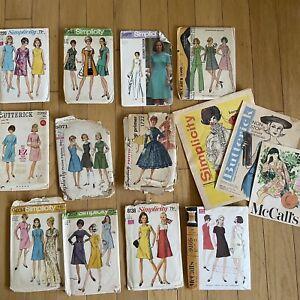 Lot Of 11 Vintage Women's Sewing Patterns Simplicity 50s 60s BONUS