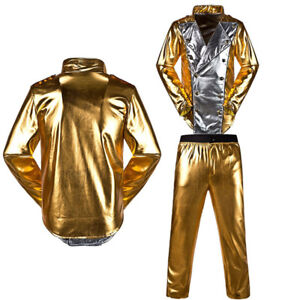 Mens Michael Jackson History World Tour  Golden Outfit Jacket & Pants MJ Costume