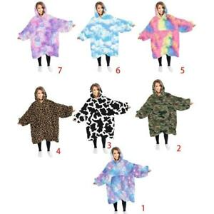Adult Oversized Blanket Tops Hoodie Thicken Plush Reversible Sweatshirt Tie-Dye