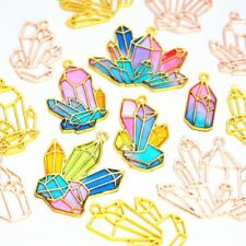 5Pcs Cluster Crystal Stone DIY Metal Frame Jewelry UV Resin Charms Bezel Setting