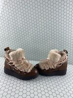 Circus By Sam Edelman REX Brown Leather Fur Trim Ankle Boots Women's Size 6.5 M