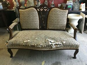 VINTAGE SETTEE / COUCH DARK WOOD / GREY FLORAL FABRIC / FOR REUPHOLSTERING