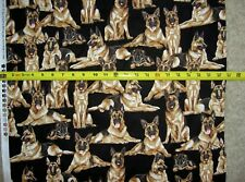 German Shepherd Dog Dogs 7364 Black Multi Timeless Durable Cotton Fabric