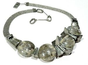Bijou superbe collier moderniste créateur Anne-Marie Chagnon verre soufflé