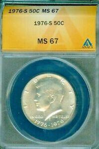 1976-S KENNEDY SILVER HALF DOLLAR ANACS MS67 BU COIN IN HIGH GRADE