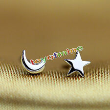 2 Pairs Star and Moon Ear Stud Earrings Women's Tiny Sterling Silver Jewelry