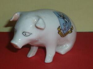 Czechoslovakia Crested China Model of Sitting Pig. Crest of Horsham