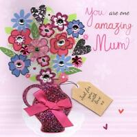 "Amazing Mum 8"" Square Happy Mother's Day Card Embellished Mothers Day Cards"