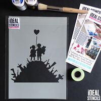 Banksy stencil Kids gun hill reusable Decor Painting Art Graffiti Ideal Stencils