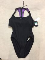 $118 womens Nike one 1 piece swimwear swim suit black violet NESSA291-001