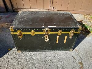 Antique trunk wood metal leather early c. Steamer with shelf Chest Coffee Table