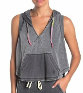 FREE PEOPLE FP Movement Meadowbrook Sleeveless Hoodie Black Womens Size XS NWT