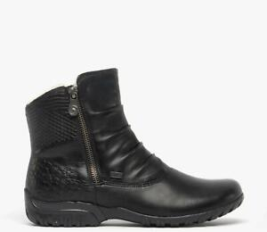 Rieker Z4663-01 TEX Ladies Womens Warm Lined Winter Zip Up Ankle Boots Black