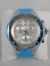NEW Michele Jelly Bean Large Tahitian Blue & Silver Watch MWW12F000049 NIB
