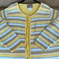 April Cornell Cardigan Sweater Yellow Blue Brown Striped Long Sleeve Size M