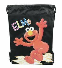 Elmo Black Drawstring backpack School Sport Gym Tote Bags