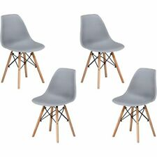 "Best Master Furniture Mickey 17.5"" Plastic Dining Chair in Gray (Set of 4)"
