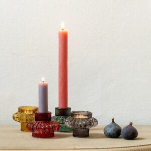 Coloured Glass Reversible Dinner Candle Stick Tea Light Votive Holder Large Duo