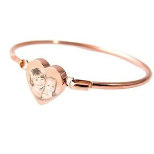 Heart Bangle / Bracelet, Photo Engraved Rose Gold Personalised Christmas Gift