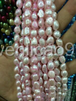 """8-9mm Water pink Freshwater Cultured Pearl Flat Gemstone Loose Beads 14"""""""