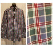 New ROUNDTREE&YORKE Trim Fit Long Sleeve Green & Red Plaid Shirt Men XL XLarge