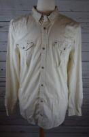 NEW Buffalo David Bitton Men's Sariz Military Woven Shirt Cream XL MSRP $75.00