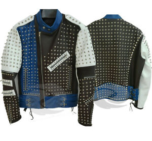 Studded Punk Rock Men real Leather Jacket blue white fashion leather any size