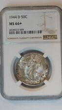 1944-D Walking Liberty Half Dollar NGC MS66+ Hand Engraved Initials FS-901
