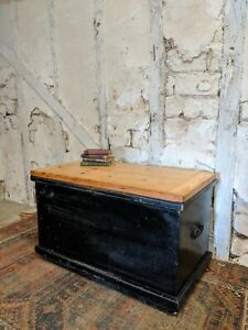 Antique Painted Trunk, Blanket Chest, Coffee Table