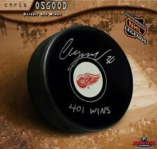 "CHRIS OSGOOD Signed Detroit Red Wings Puck Inscribed ""401 Wins"""