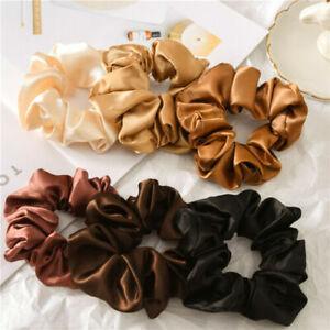 Women Satin Silk Solid Hair Ties Elastic Scrunchie Ponytail Holder Hair Ropes