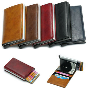 New Fashion Men Woman Blocking Leather Credit Card Holder Aluminum Purse Wallet